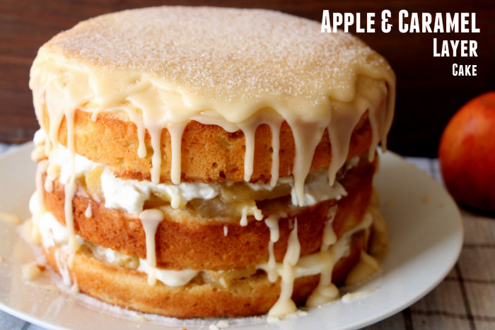 apple and caramel layer cake