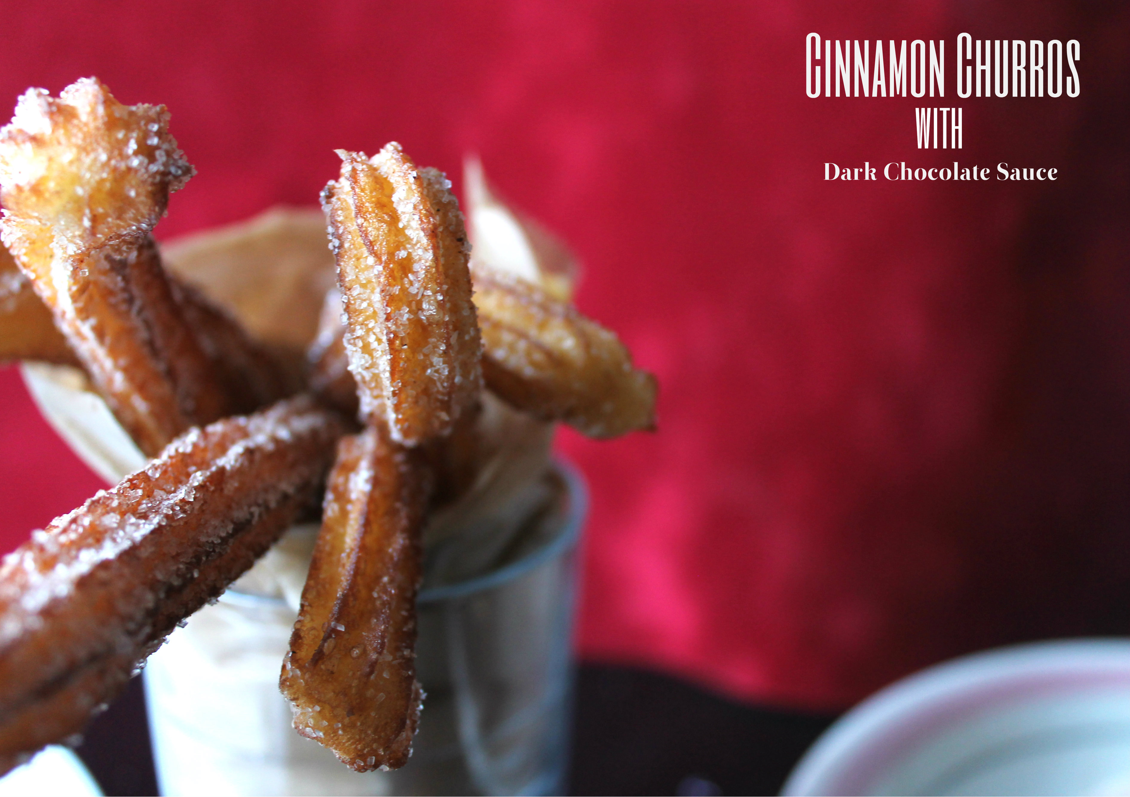 cinnamon churros with dark chocolate sauce
