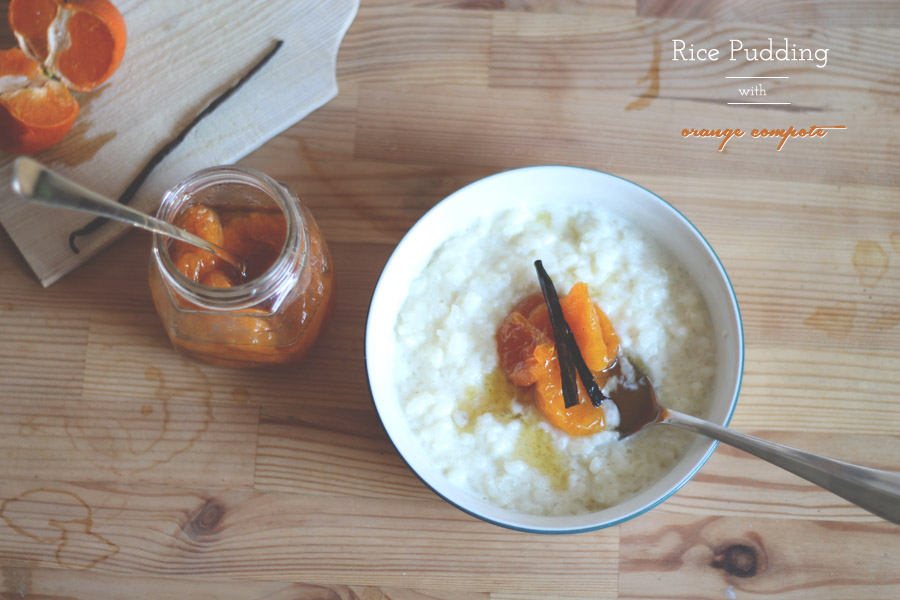 rice pudding with orange compote