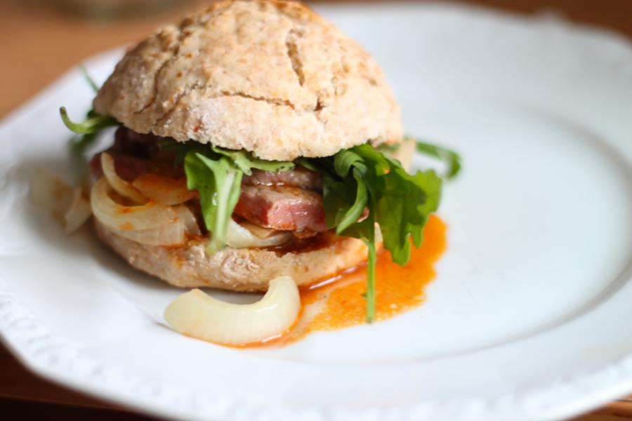 steak sandwich on soda bread