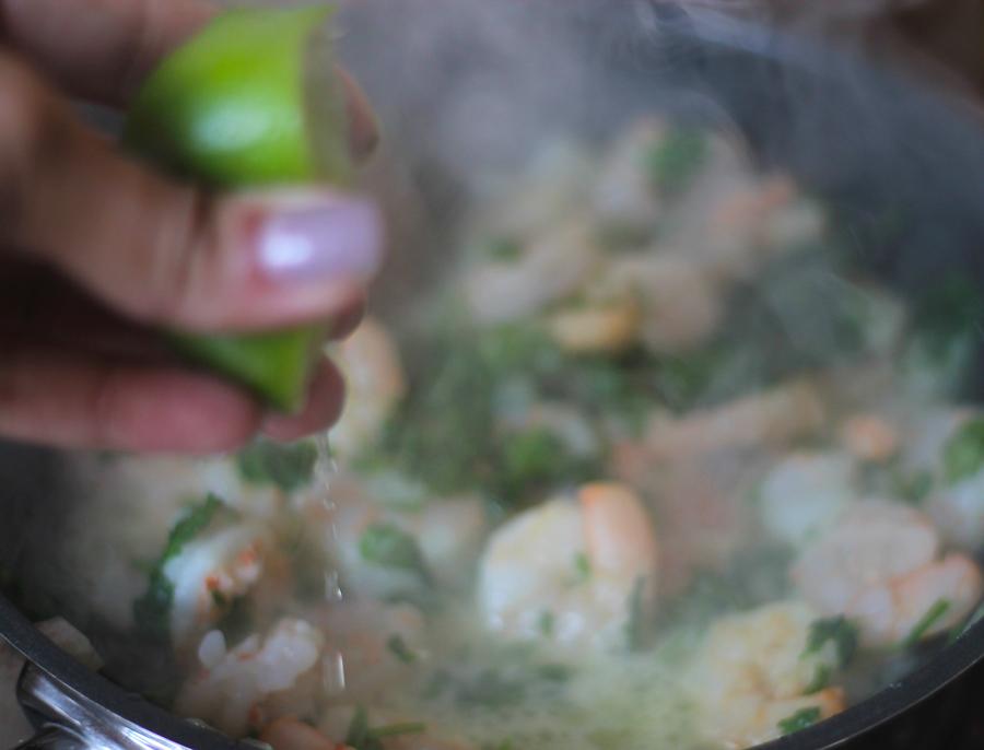 coriander and lemon prawn recipe