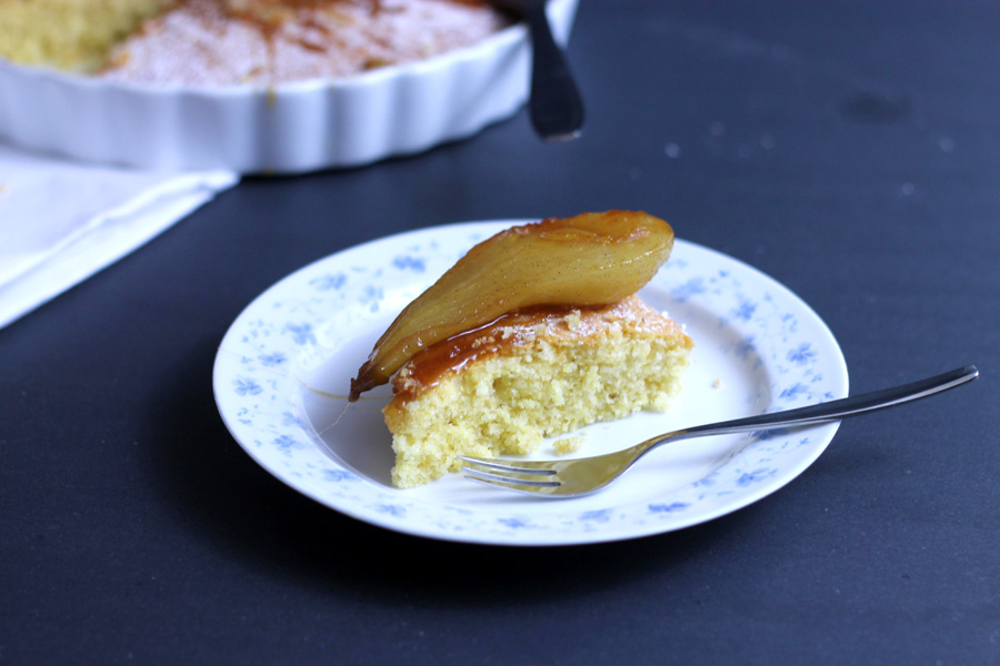 Poached Pear polenta and almond cake